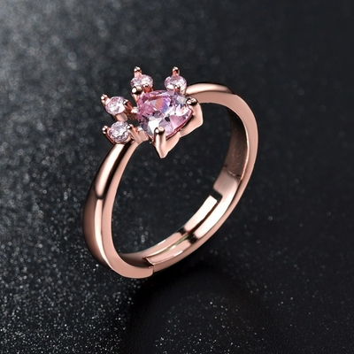 Bague pattoune de Chat rose