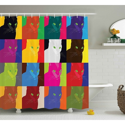 Rideau de douche Pop Art Cat