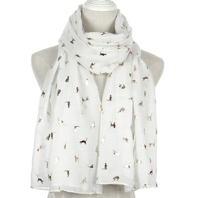 Foxm-re-charpe-femmes-foulards-luxe-brillant-blanc-marine-jaune-bronzant-feuille-or-chat-charpe-ch