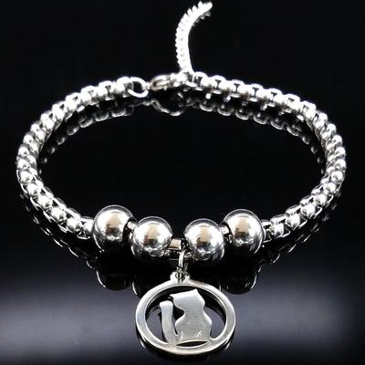 Bracelet médaillon Chat silhouette