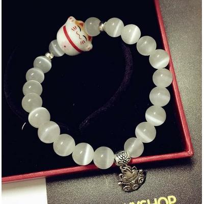 Bracelet pierre de lune Chat nippon