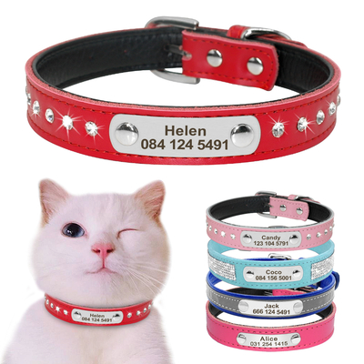 Collier-de-chat-en-cuir-personnalis-collier-de-chat-pour-chiot-petits-chiens-Pet-chaton-plaque