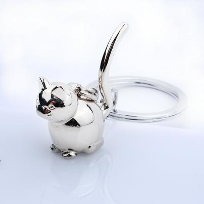 Porte-clés Chat en métal argenté