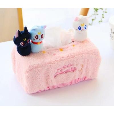 Protège boîte mouchoirs en peluche avec 3 Chatons tout mignons