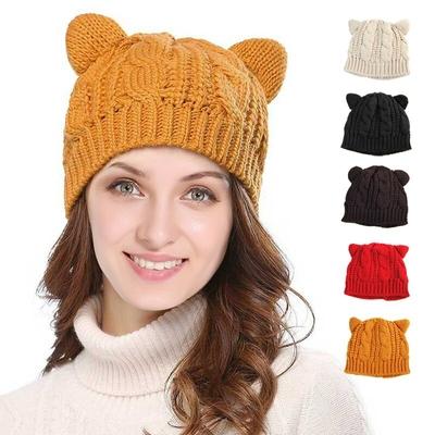 Bonnet tricoté oreilles de Chat