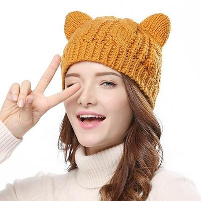 Chapeaux-l-gants-en-oreilles-de-chat-Ours-de-marque-bonnet-tricot-pour-hiver-joli-bonnet