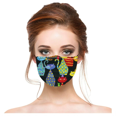 Masques adultes jetables Chats rigolos (lot de 20) divers coloris