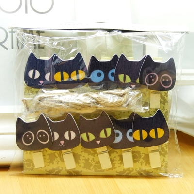 Lot de 10 mini pinces en bois Chats noirs