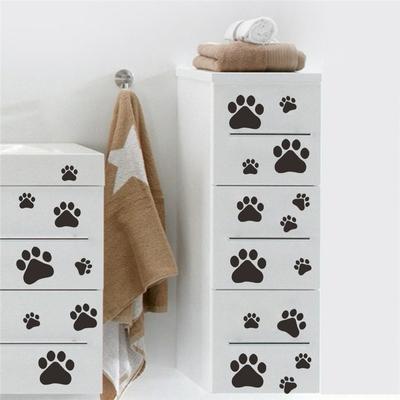 Dessin-anim-Chien-Chat-Marchant-Patte-Imprimer-Stickers-Muraux-Pour-Enfants-Chambres-D-calque-D-animal