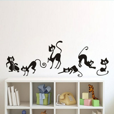 Sticker mural planche de 6 Chats design