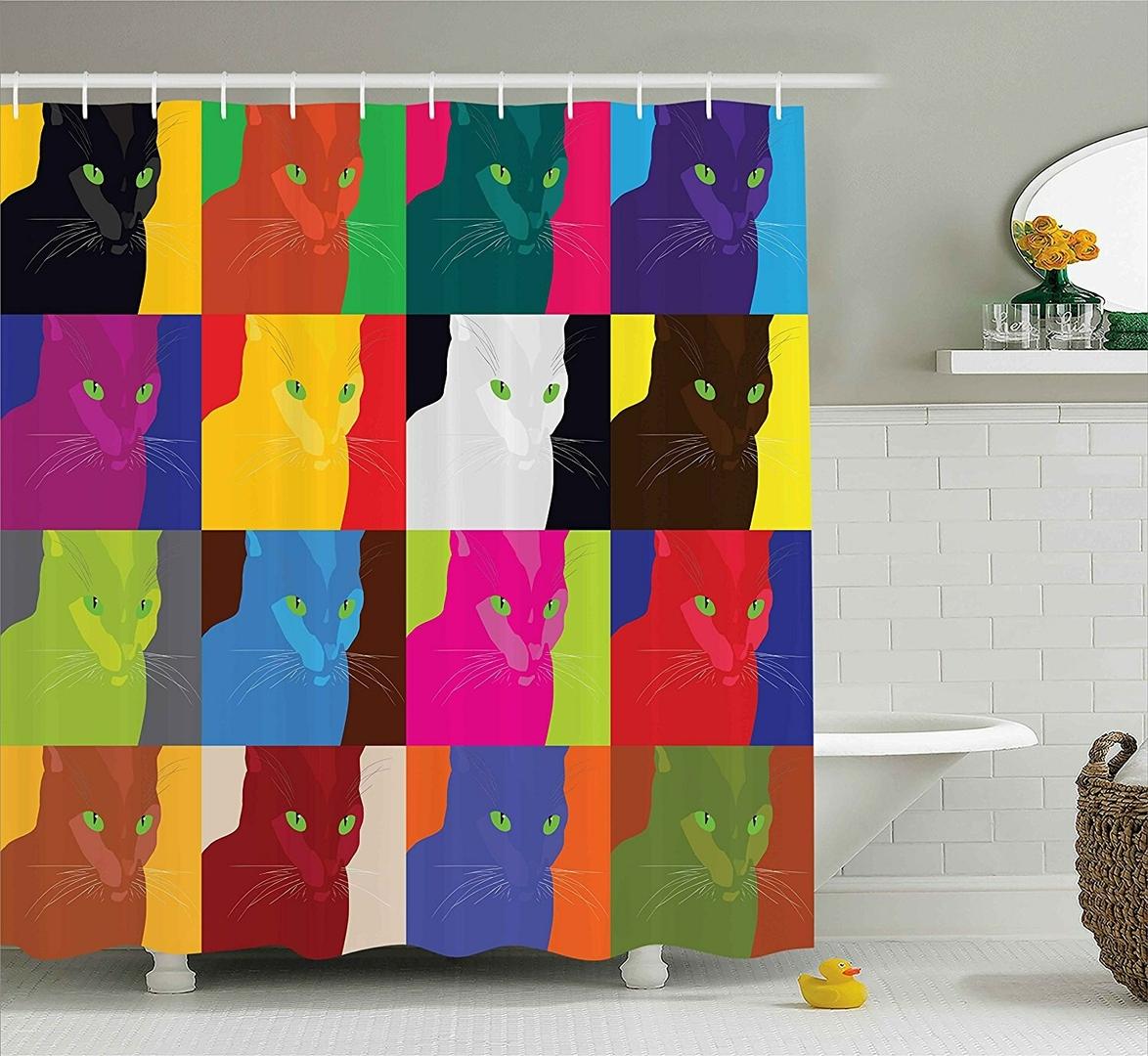 D-cor-de-chat-rideau-de-douche-Style-Pop-Art-vedette-Fractal-Kitty-Portraits-cadre-avec