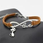 Nouvelle-mode-Antique-argent-mignon-animaux-chat-charmes-petit-renard-pendentif-infini-amour-Bracelets-en-cuir