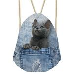 FORUDESIGNS-3D-bleu-Denim-poche-motif-sacs-cordon-pour-les-femmes-mignon-Animal-chat-stockage-Softback