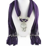 Style-chaud-hiver-femmes-cristaux-chat-pendentif-charpe-Polyester-solide-charpe-foulard