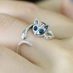 Chaton-cristal-anneau-yeux-bleus-couleur-argent-anneau-1-pi-ce-mignon-vente-chat-Animal