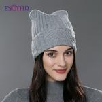 ENJOYFUR-hiver-coton-tricot-chapeaux-pour-femmes-nouveau-Parent-enfant-belle-chat-oreille-bonnets-mignon-chapeaux