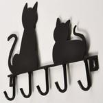 Mignon-Noir-M-tal-Fer-chat-conception-manteau-crochet-tenture-serviette-V-tements-cl-s-titulaire