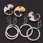 Une-paire-Couples-porte-cl-s-noir-blanc-mignon-chat-animaux-pendentifs-porte-cl-s-saint