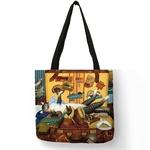Peinture-l-huile-Chat-Impression-sac-pour-femmes-Sacs-Linge-R-utilisable-sac-de-courses-sacs
