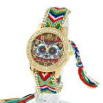 Gnova-montre-ethnique-platine-pour-femmes-Vintage-pays-des-merveilles-chat-strass-cadran-mode-dentelle-tress