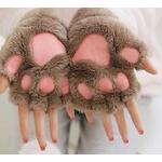 Mitaines-en-peluche-pour-femmes-mignon-patte-de-chat-chaud-et-doux-courtes-sans-doigts-ours