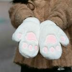 Femmes-tudiant-hiver-floue-en-peluche-pleine-doigt-gants-mignon-dessin-anim-chat-patte-couleur-unie