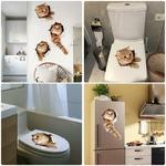 3D-Chats-Mur-Autocollant-Toilettes-Autocollants-Trou-Vue-Vivid-Chiens-Salle-De-Bains-D-coration-de