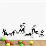 Belle-6-Noir-Mignon-Chats-Sticker-Mural-Moder-Chat-Stickers-Muraux-Filles-Vinyle-D-cor-La