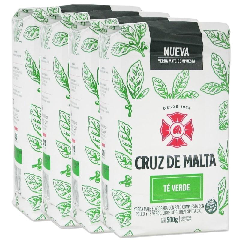 Pack 4 Cruz de Malta té verde Yerba Maté avec tiges