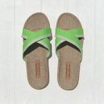Chantal3 plagettes vertes pour l'été semelle en lin
