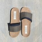 Claquettes de plage Les Mauricettes pour homme marron lin et coton rétro chic