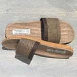 Claquettes de plage Les Mauricettes pour homme marron lin et coton
