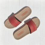 Les Mauricettes rouges , claquettes femme plage et voyage ultra légères