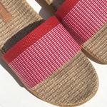 Les Mauricettes claquettes nus pieds plage légères rouges pour femme