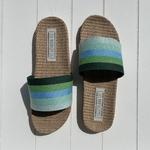 les Mauricettes dOlympe claquettes rayées vert légères et confortables