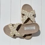Les Mauricettes Edmonde corde beige et blanc claquettes légères confort