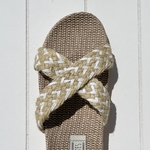 Les Mauricettes Edmonde corde beige et blanc claquettes légères croisées