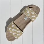 Les Mauricettes Edmonde corde beige et blanc claquettes légères tendance