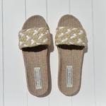 Les Mauricettes Edmonde corde beige et blanc claquettes légères chanvre