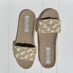 Les Mauricettes Edmonde corde beige et blanc claquettes légères mode