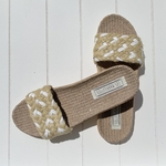 Les Mauricettes Edmonde corde beige et blanc claquettes légères vacances