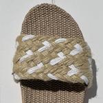 Les Mauricettes Edmonde corde beige et blanc claquettes légères plage