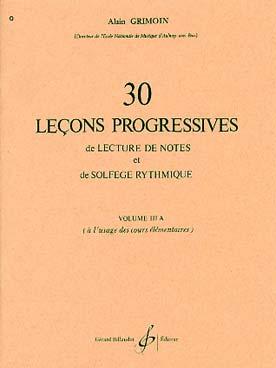 30 LECONS PROGRESSIVES DE SOLFEGE VOL 3A