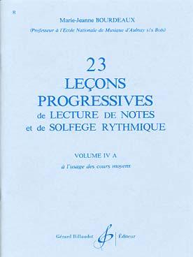 23 LECONS PROGRESSIVES DE SOLFEGE VOL 4A