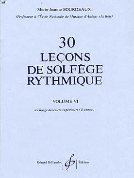 30 LECONS DE SOLFEGE RYTHMIQUE VOL 6