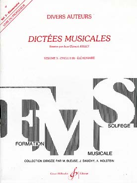 DICTEES MUSICALES VOL 3 PROF