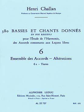 380 BASSES ET CHANTS DONNEES VOL 6A