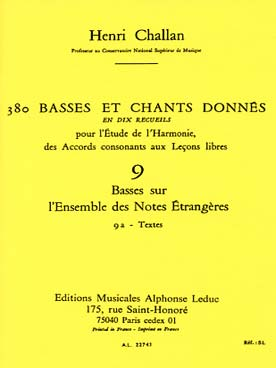 380 BASSES ET CHANTS DONNEES VOL 9A