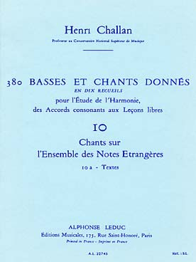 380 BASSES ET CHANTS DONNEES VOL 10A