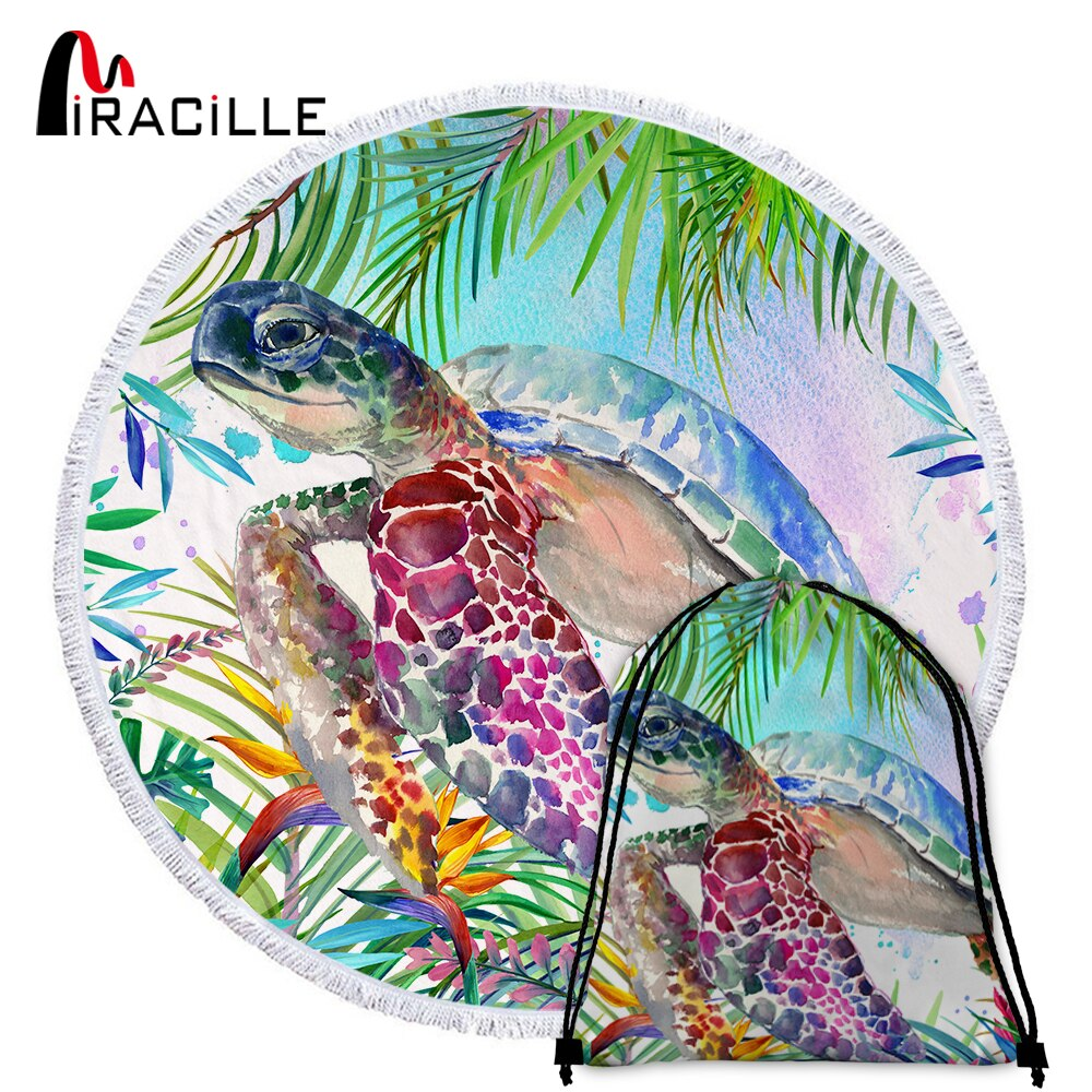 Serviette de plage ronde  collection tropical tortue